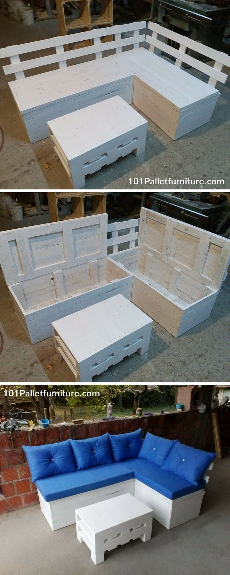 Pallet Sectional Sofa With Additional Storage Space   101 Pallet Furniture