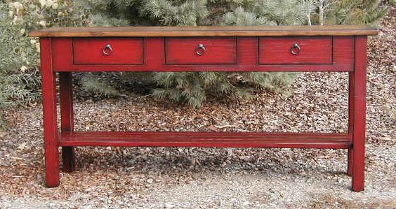 Distressed Red Console Table Distressed Mirrored Console Table