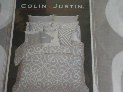 colin justin light gray white modern 3pc queen duvet cover set ebay bedroom ideas and. Black Bedroom Furniture Sets. Home Design Ideas