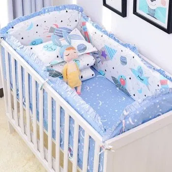 6pcs Set Blue Universe Design Crib Bedding Set Cotton Toddler Baby