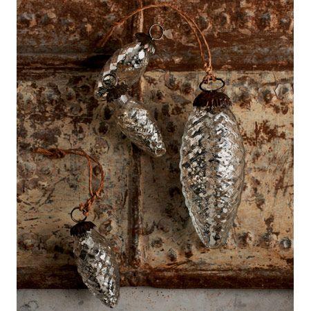 Mercury glass pine cone ornaments