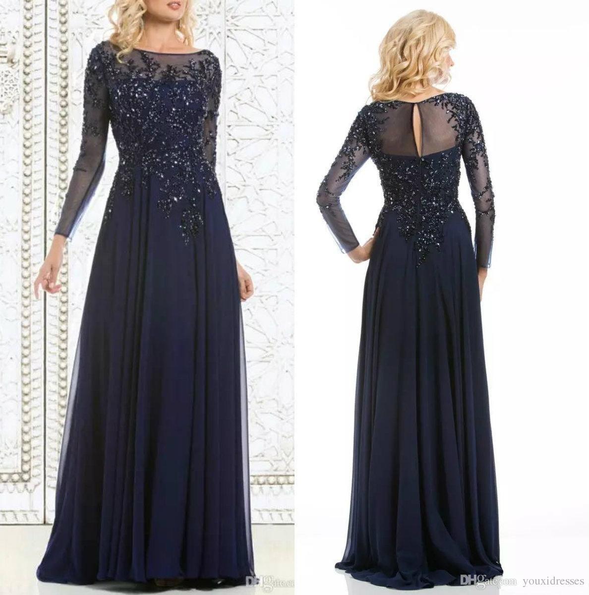 Elegant Navy Blue Mother Of The Bride Dresses Chiffon ...