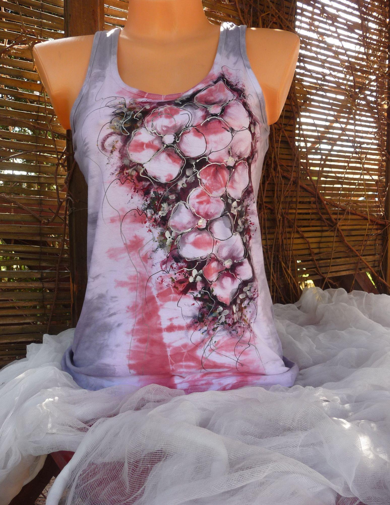 e7ca54ac48b Dám.tílko.růžovo-šedé s květy(L) Ručně malované tílko. Vel. uvedená  výrobcem L