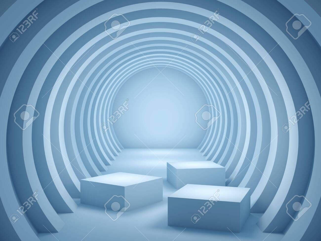 Stand for product round geometry tunnel blue colors 3D illustration rendering