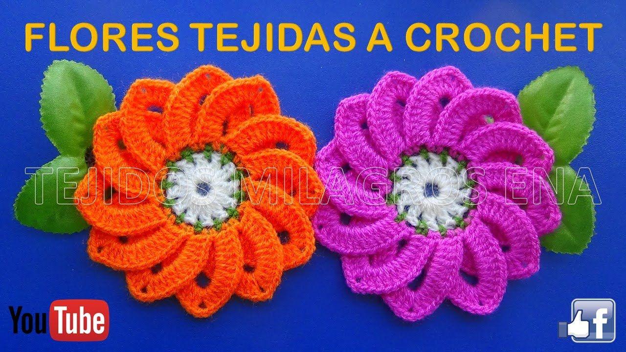 Flor # 10 tejida a gancho fácil y rápido paso a paso | Flores a ...