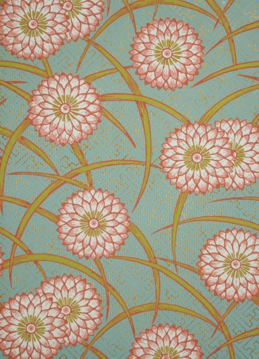 papier peint motif de chrysanth me la mani re de l. Black Bedroom Furniture Sets. Home Design Ideas