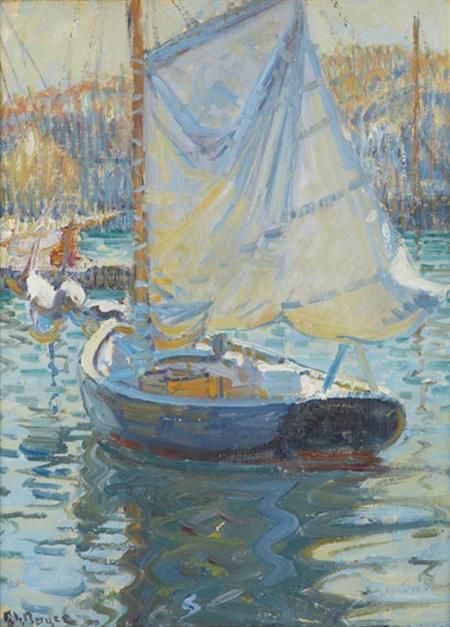 """""""Sailboat in Swampscott Harbor,"""" George Loftus Noyes, oil on canvas on board, 12 x 9"""", private collection."""