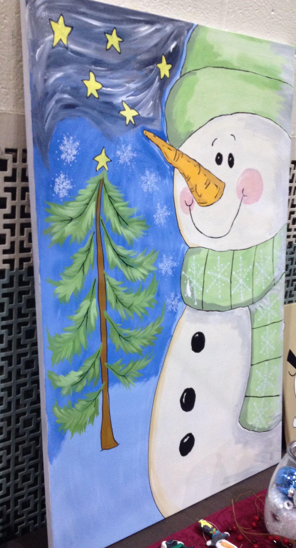 sencilla pintura del muñeco de nieve