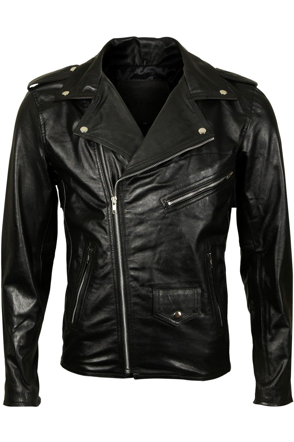 Mens Black Slim Classic Brando Leather Biker Jacket