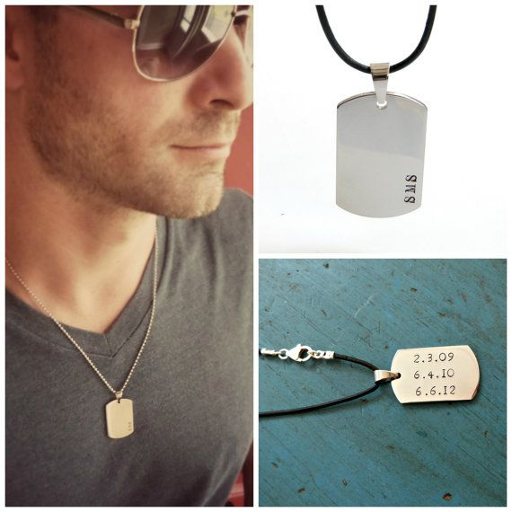 mens dog tag necklace mens jewelry personalized mens gift groomsmen gift grooms gift dad fathers