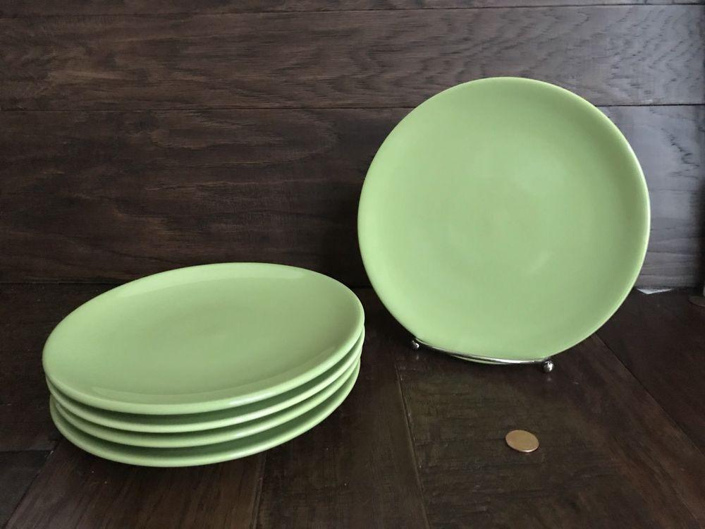 S/5 ikea fargrik light green sage dessert salad plates 8\