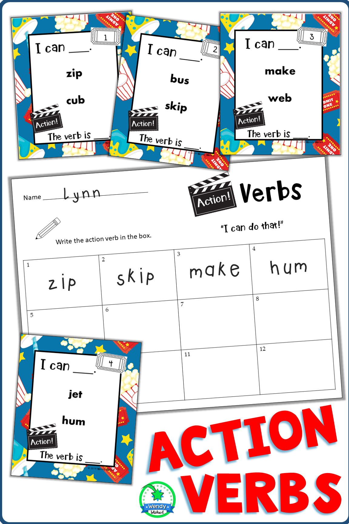 Action Verb Flashcards In