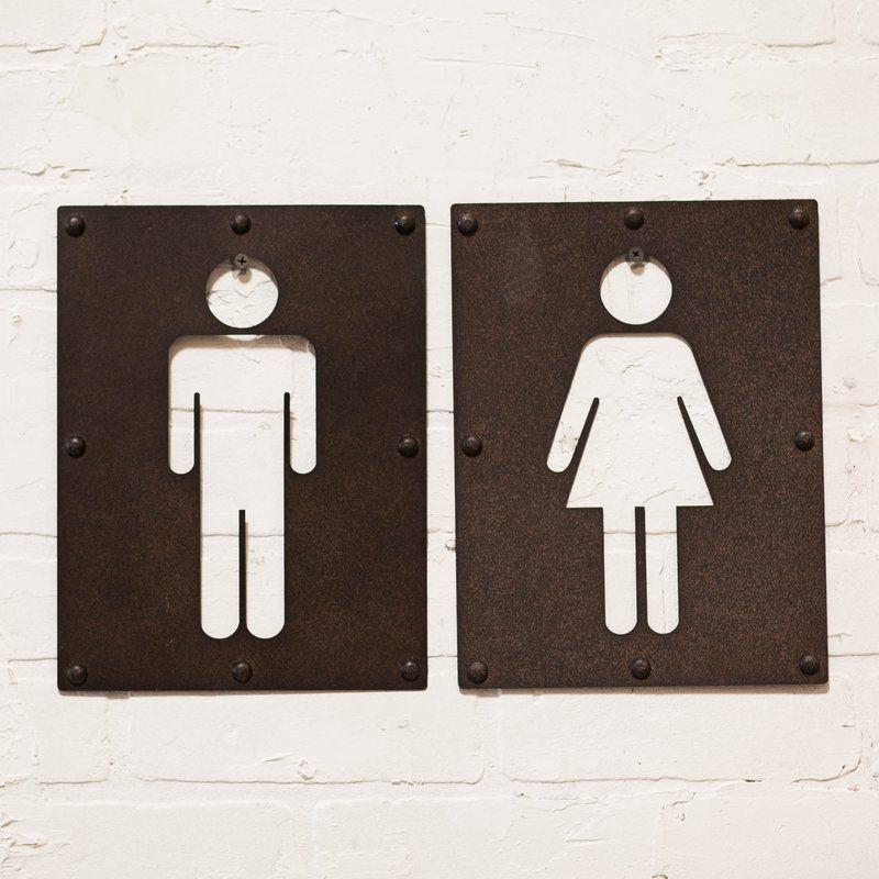 Piece Metal Bathroom Sign Wall Décor Set Metals Wall Decor And - Commercial bathroom signs