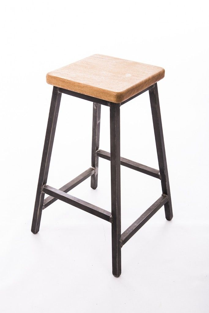 Taburete In English.Low Bar Stool Industrial Style Made With Steel Square Tube