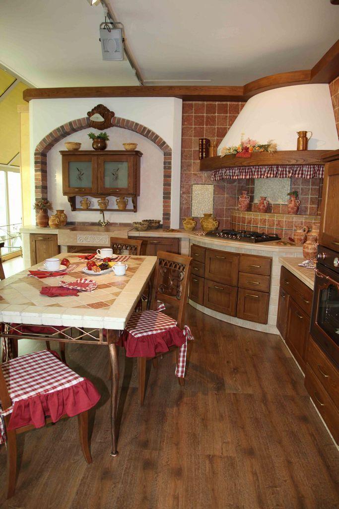 Cucina in muratura in massello di frassino con - Cucina angolo cottura in muratura ...