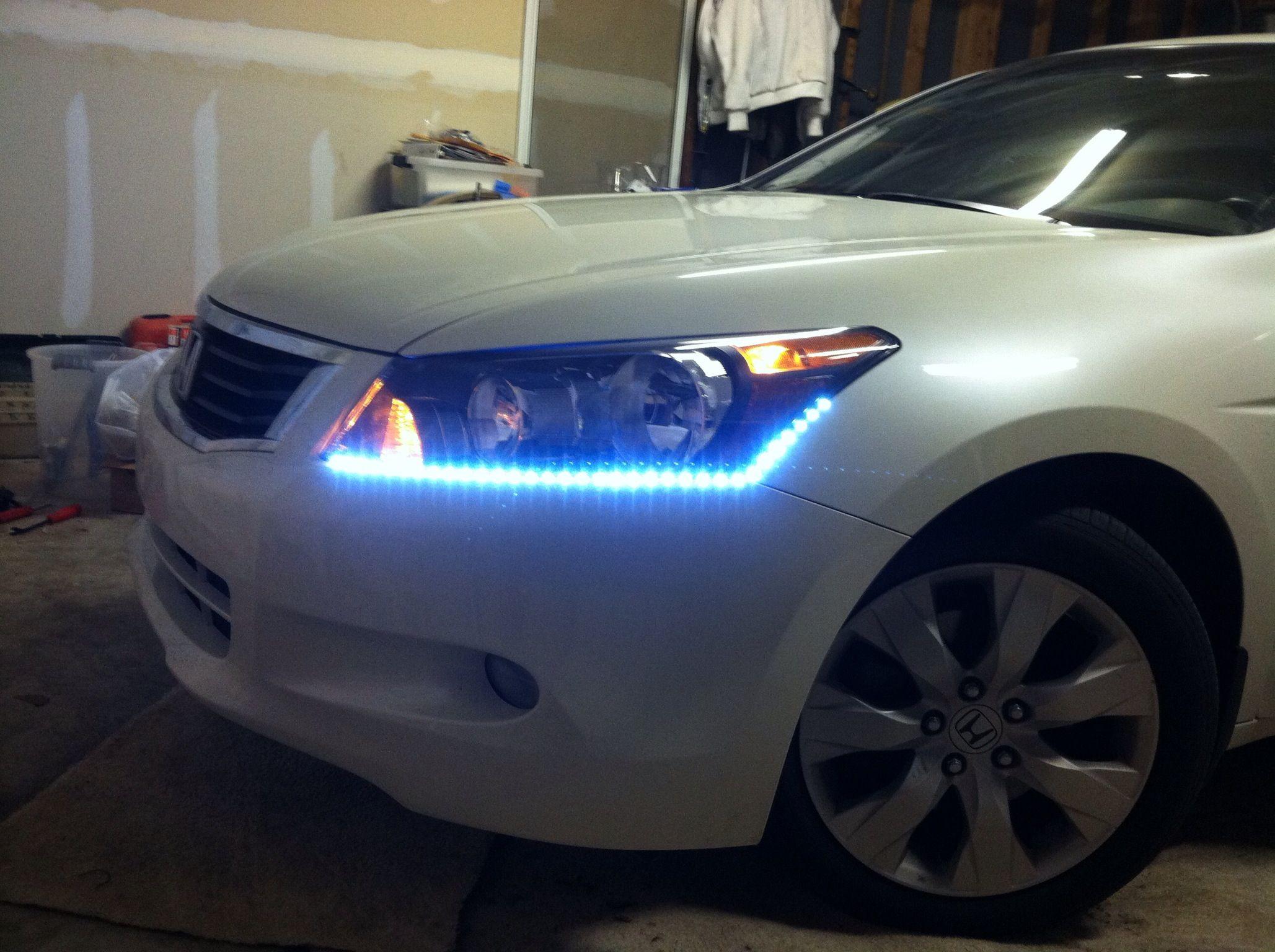 Added $20 autozone led strips to base of headlights | Led