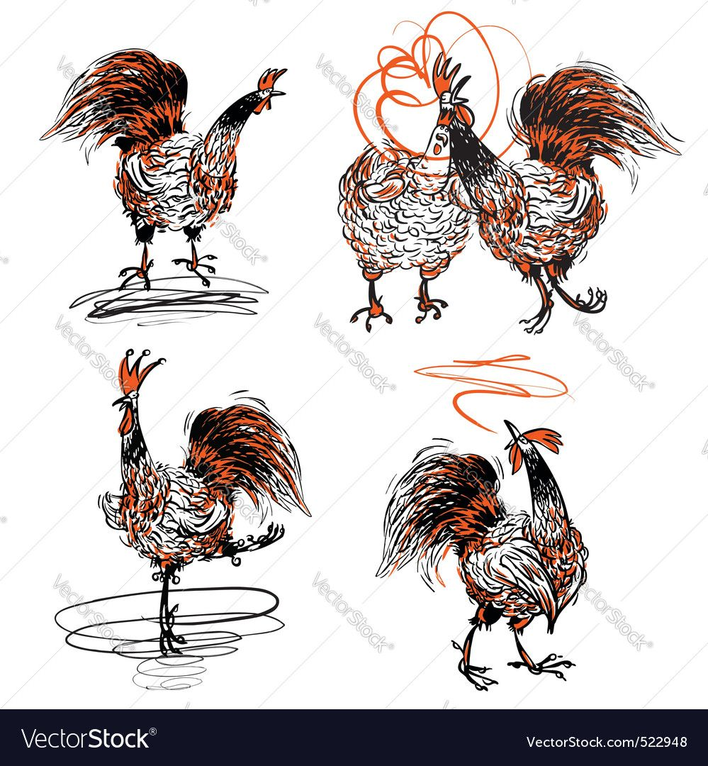 Roosters and a hen Royalty Free Vector Image  VectorStock
