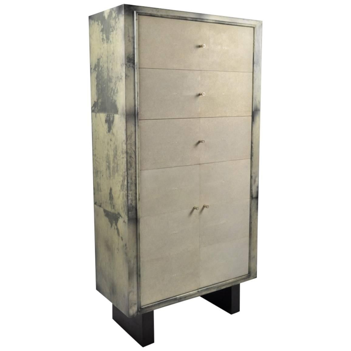 Shagreen Light Grey Parchment Cabinet | From a unique collection of antique and…