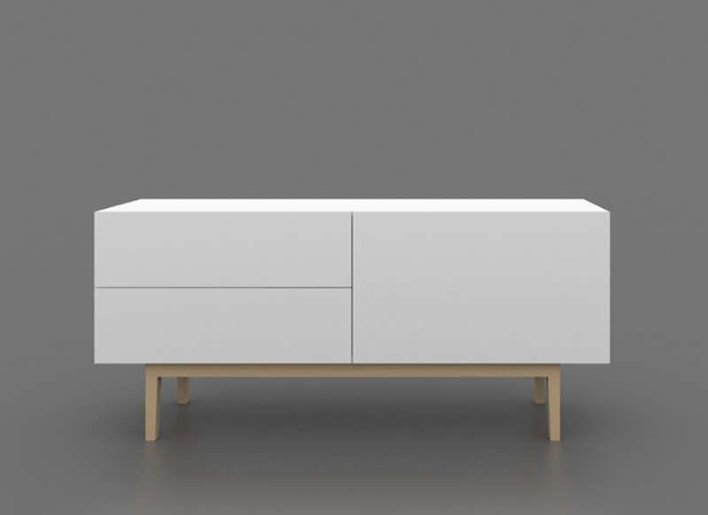 Buffet laqué blanc pieds bois | Buffet, Salons and Tv furniture