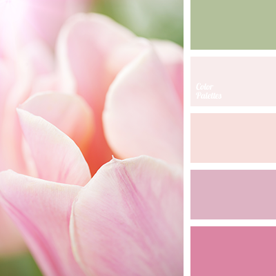 Pale pink colour combined with soft green will create particularly delicate wedding decor. This palette will help florists to find the right shades to crea.