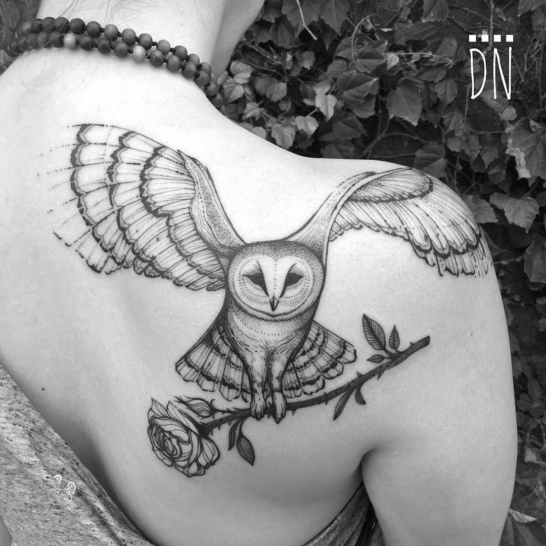 Barn owl and flower tattoo Owl tattoo, Owl tattoo