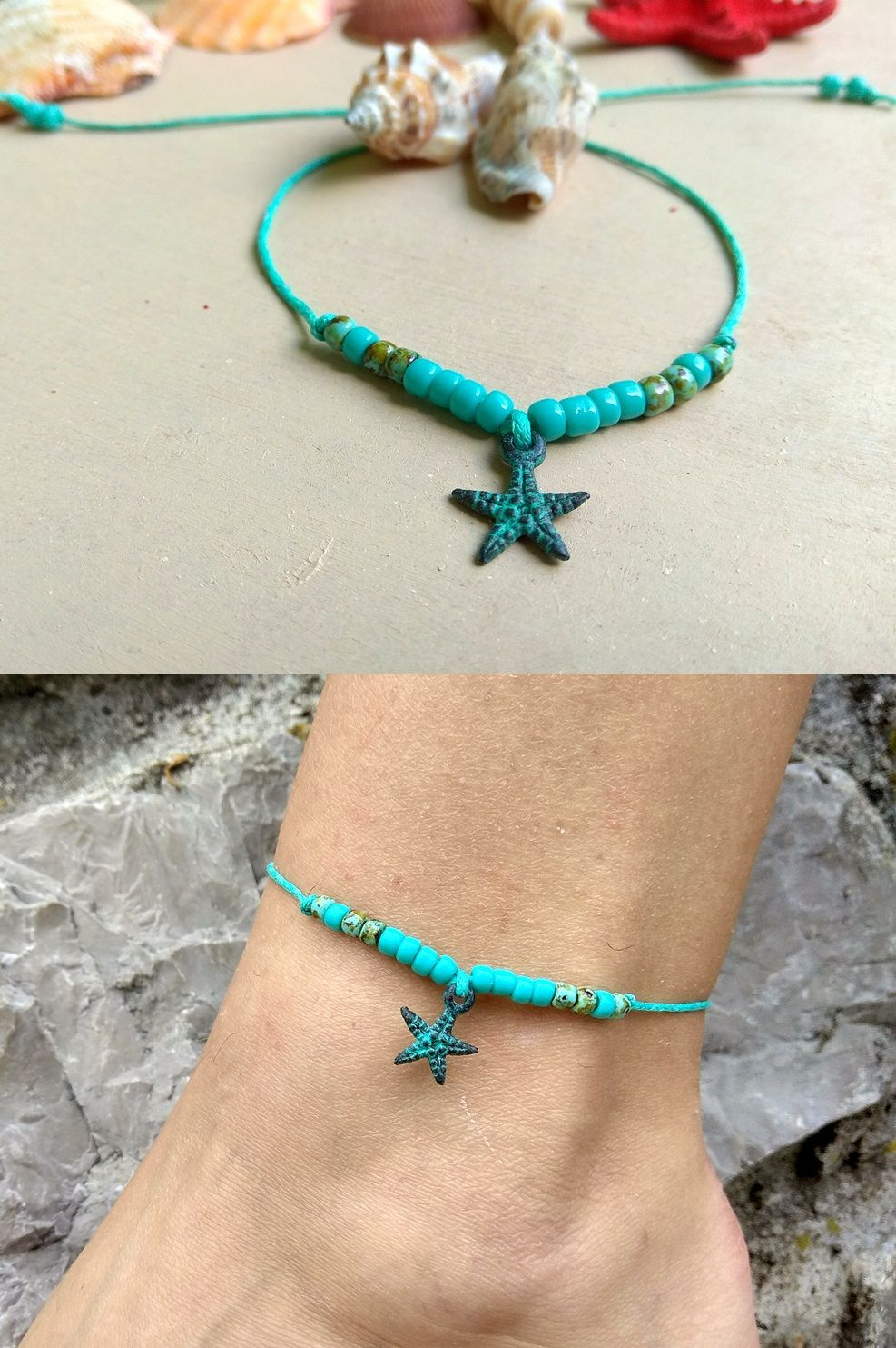 fashion and waterproof starfish charm jewelry product bracelet fish ankle anklet