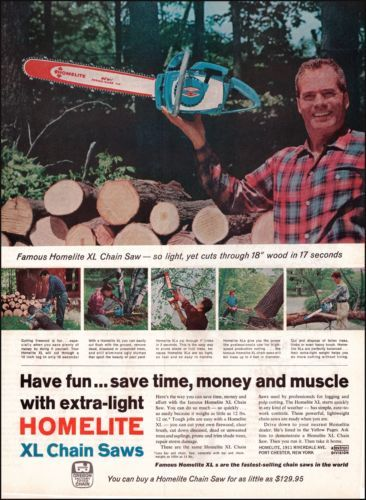 1960s Homelite XL Chain Saws Vintage Old Print Ad Photo Ad