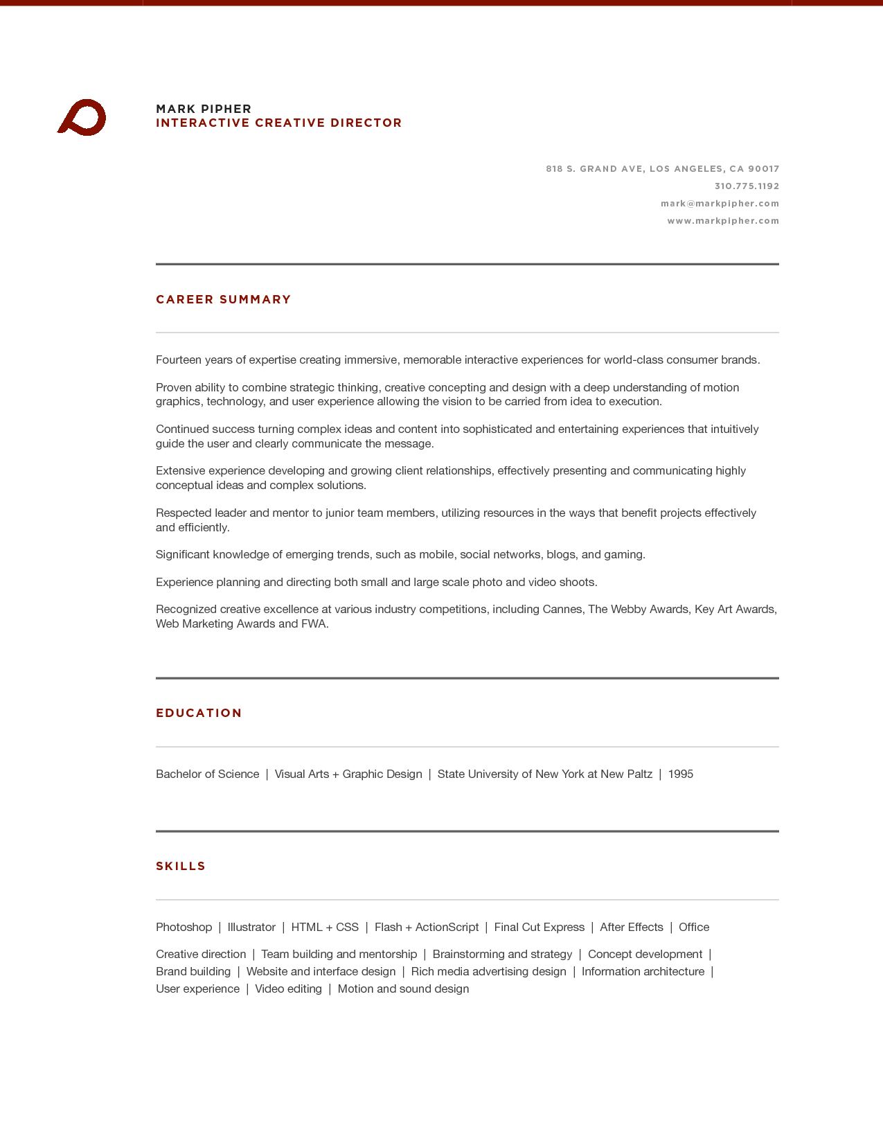 Art Director Resumes | Creative Director Resume Templates P MA R K P I P  HER IN TE