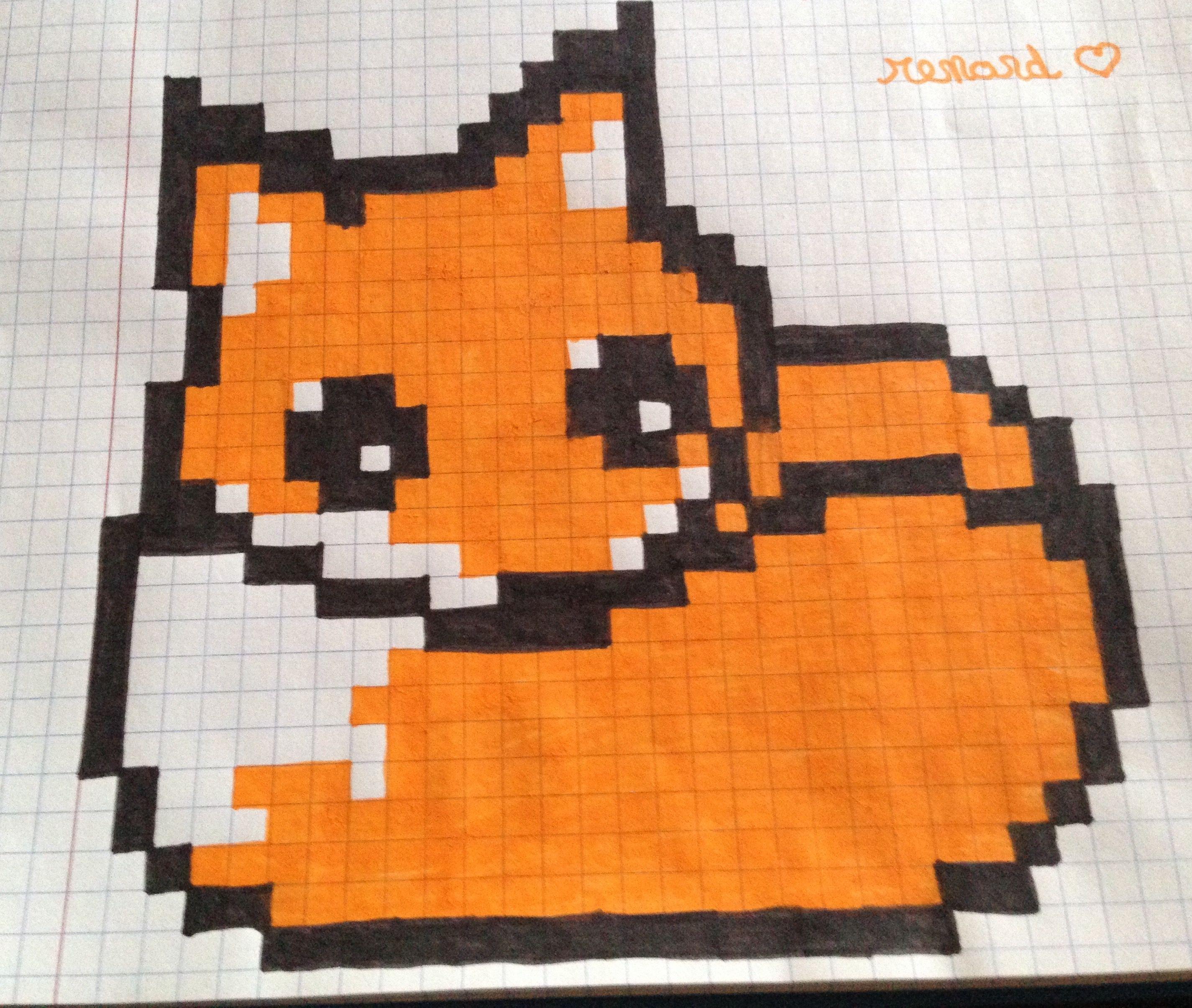 Renard Kawai Pixel Art Dessin Pixel Et Dessin