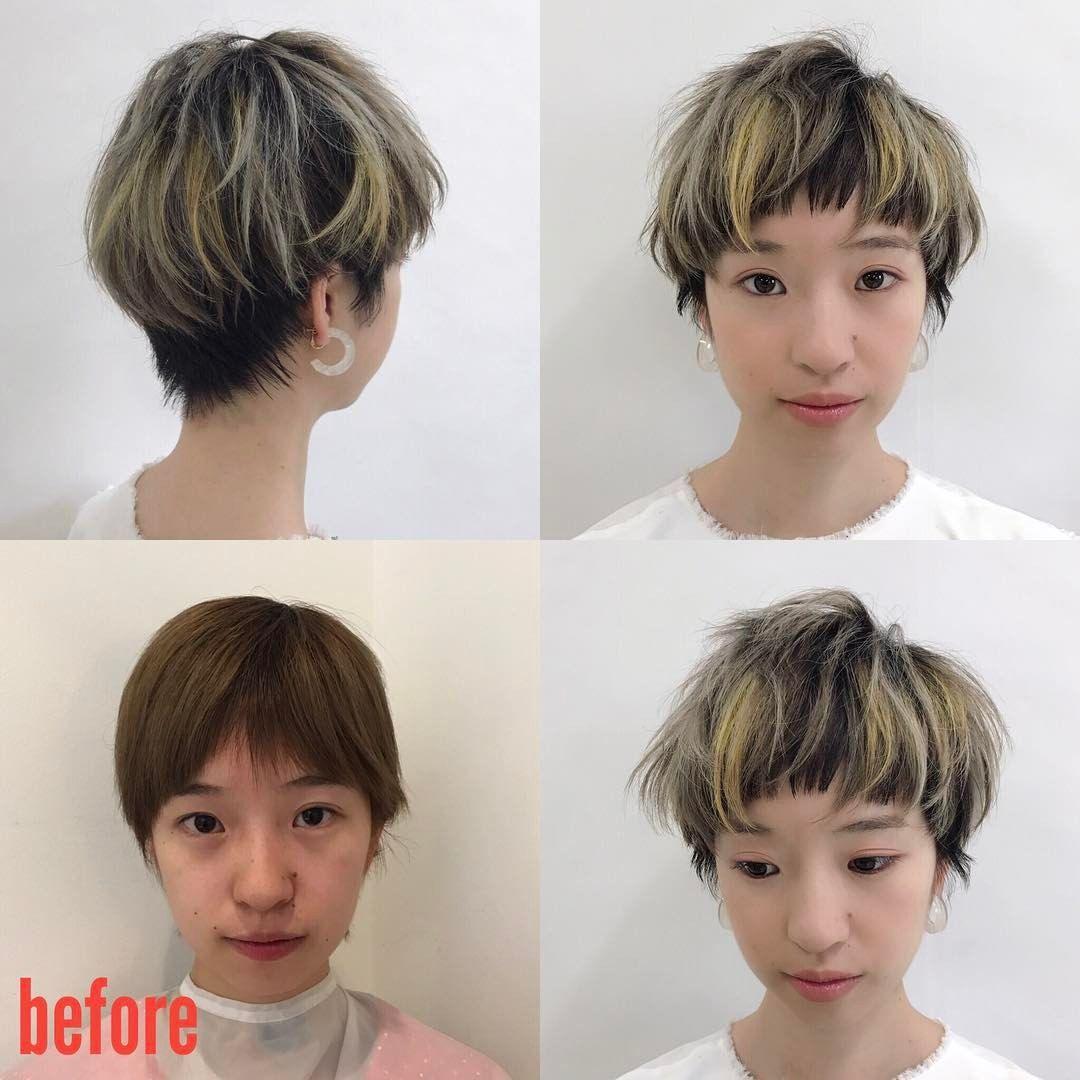 今日の島根セミナー モデルビフォーアフター 長短のある短め前髪