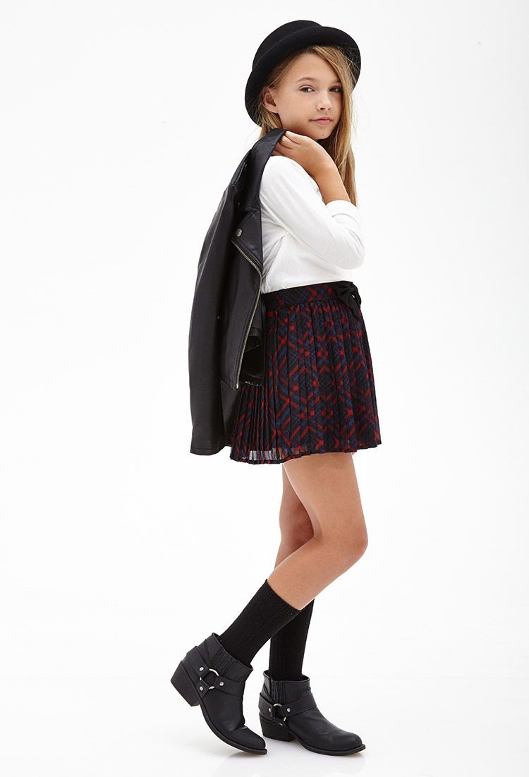 Pleated Plaid Bow Skirt Kids F21girls Tween Fashion