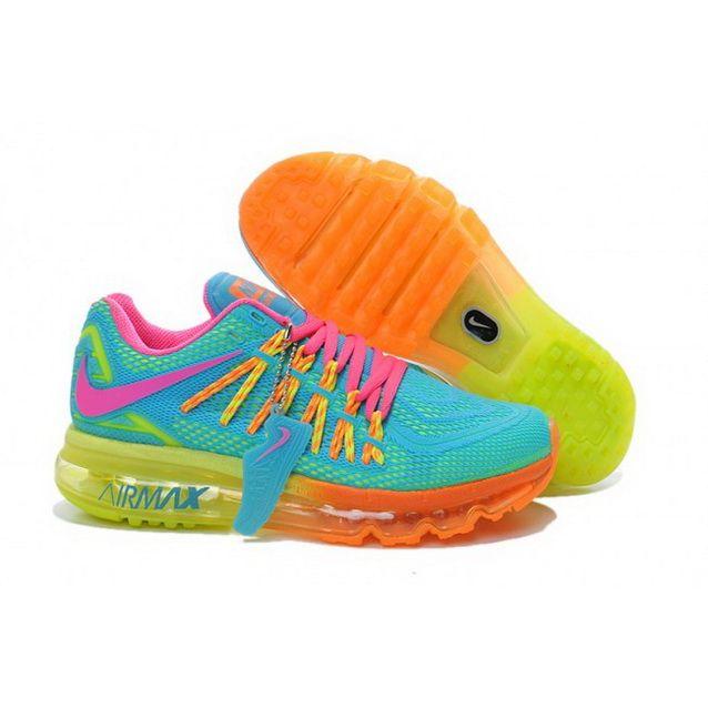 74d2cddec578 Women Nike Air Max 2015 Shoes Blue Bisque Fluorescent