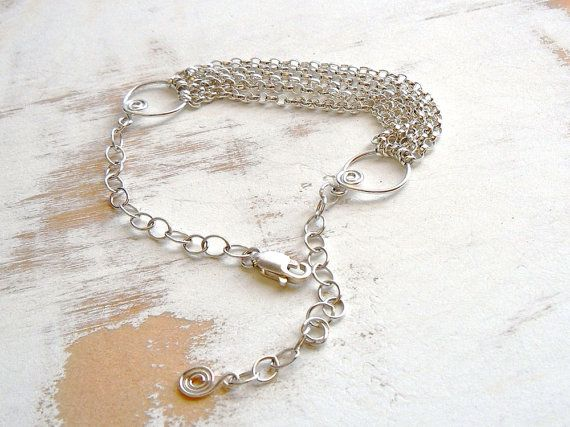Sterling Silver Chains Bracelet with Spiral Motif by bluetina