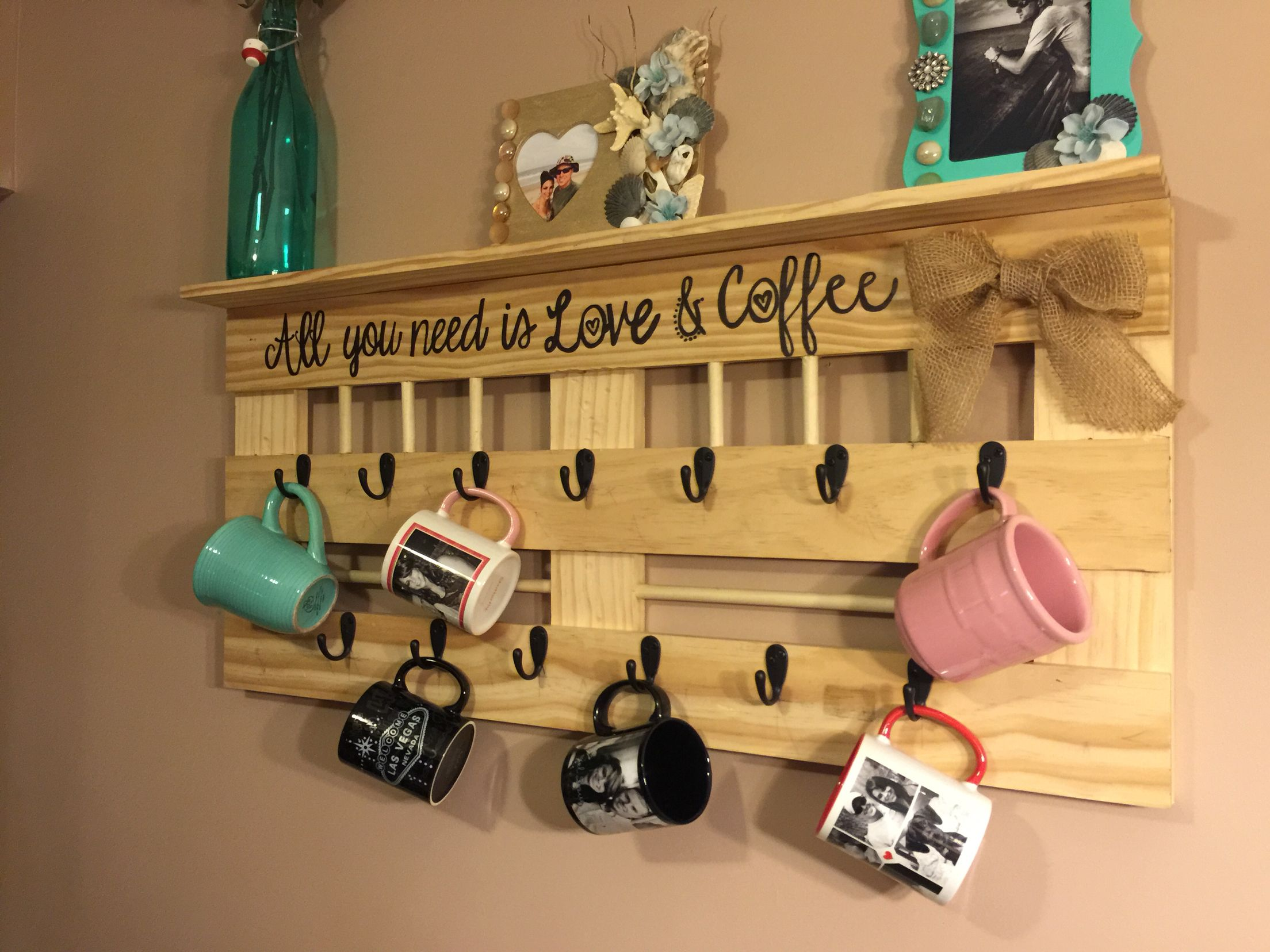 Diy Coffee Mug Rack With Shelf All You Need Is Love Coffee 3