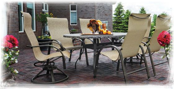 Homecrest S Palisade Sling High Back Swivel Rockers And Dining Chairs While Our Palisade Coll Modern Patio Furniture Outdoor Living Patio Furniture Collection