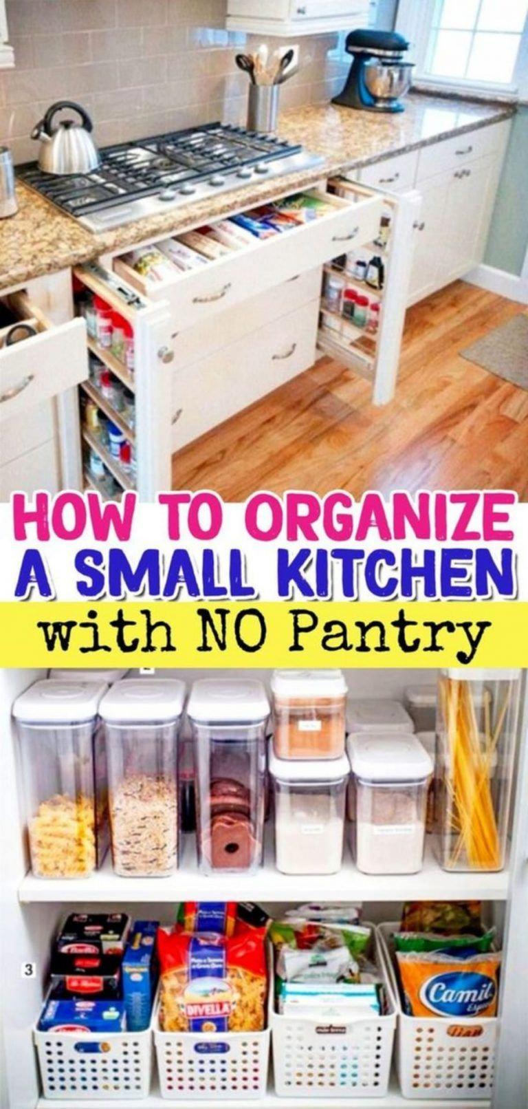 38 Creative Storage Solutions For Small Spaces Awesome Diy Ideas Kitchen Without Pantry No Pantry Solutions Kitchen Organization Diy