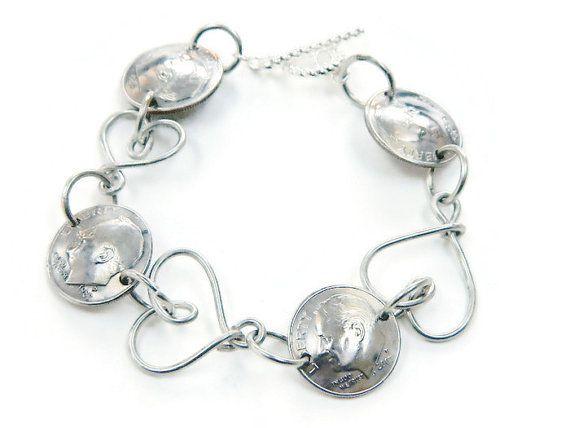 Valentine's Day Custom Coin Dime Bracelet 60th 50th by JillMelyssa