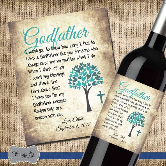 Personalised Thank you for being my Godmother Christening Baptism Wine Bottle label Gift