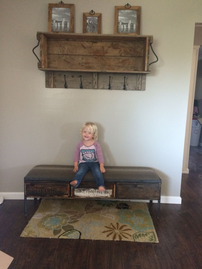 Entryway Shelf And Coat Rack Made From A Vintage Ammo Box