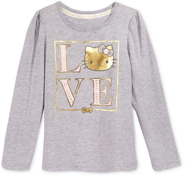 7c9631ed9 Hello Kitty Long-Sleeve Graphic-Print T-Shirt, Toddler Girls (2T-5T) &  Little Girls (2-6X)