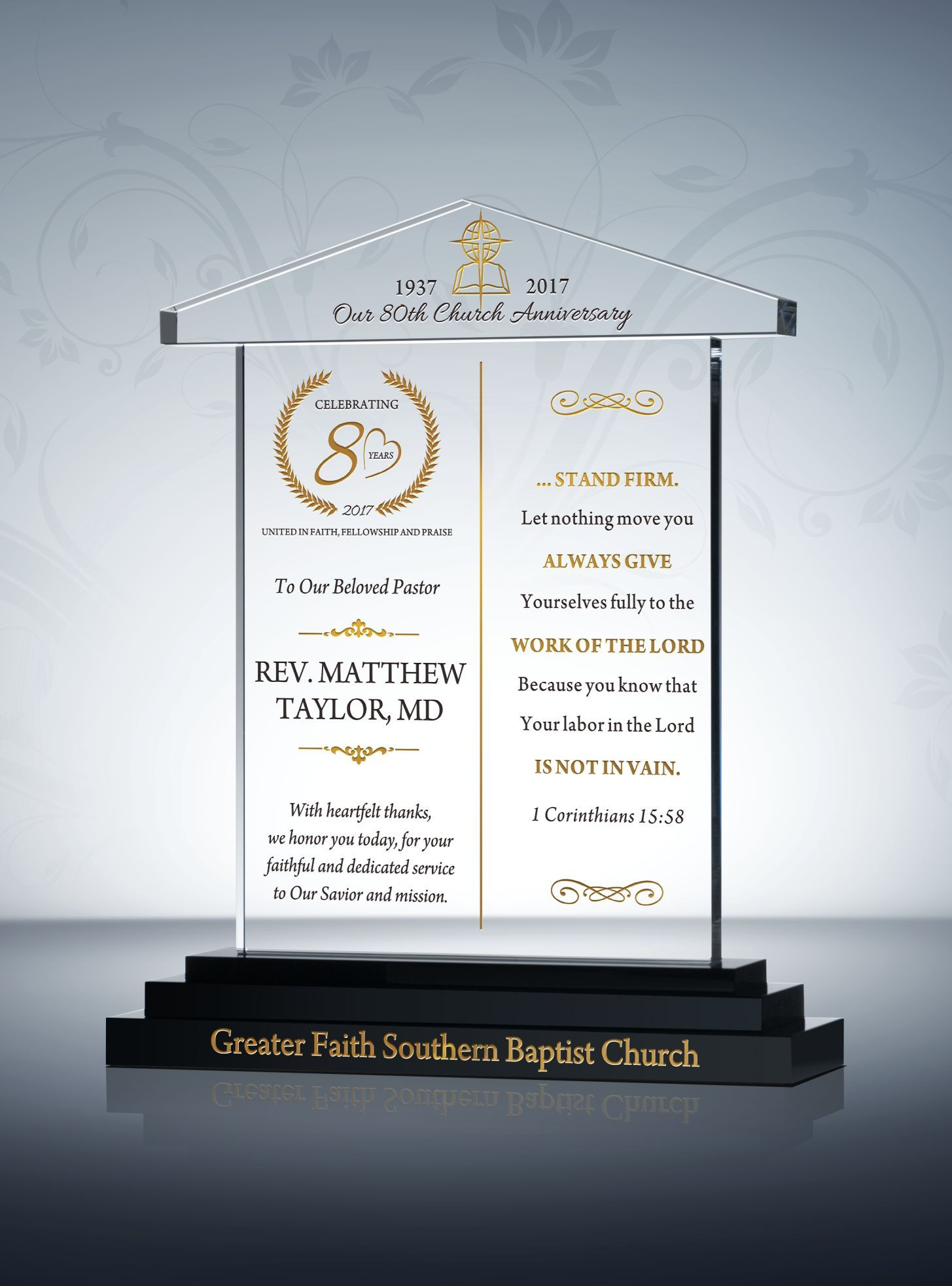 Church Anniversary Recognition Awards | Pastor Gift ...