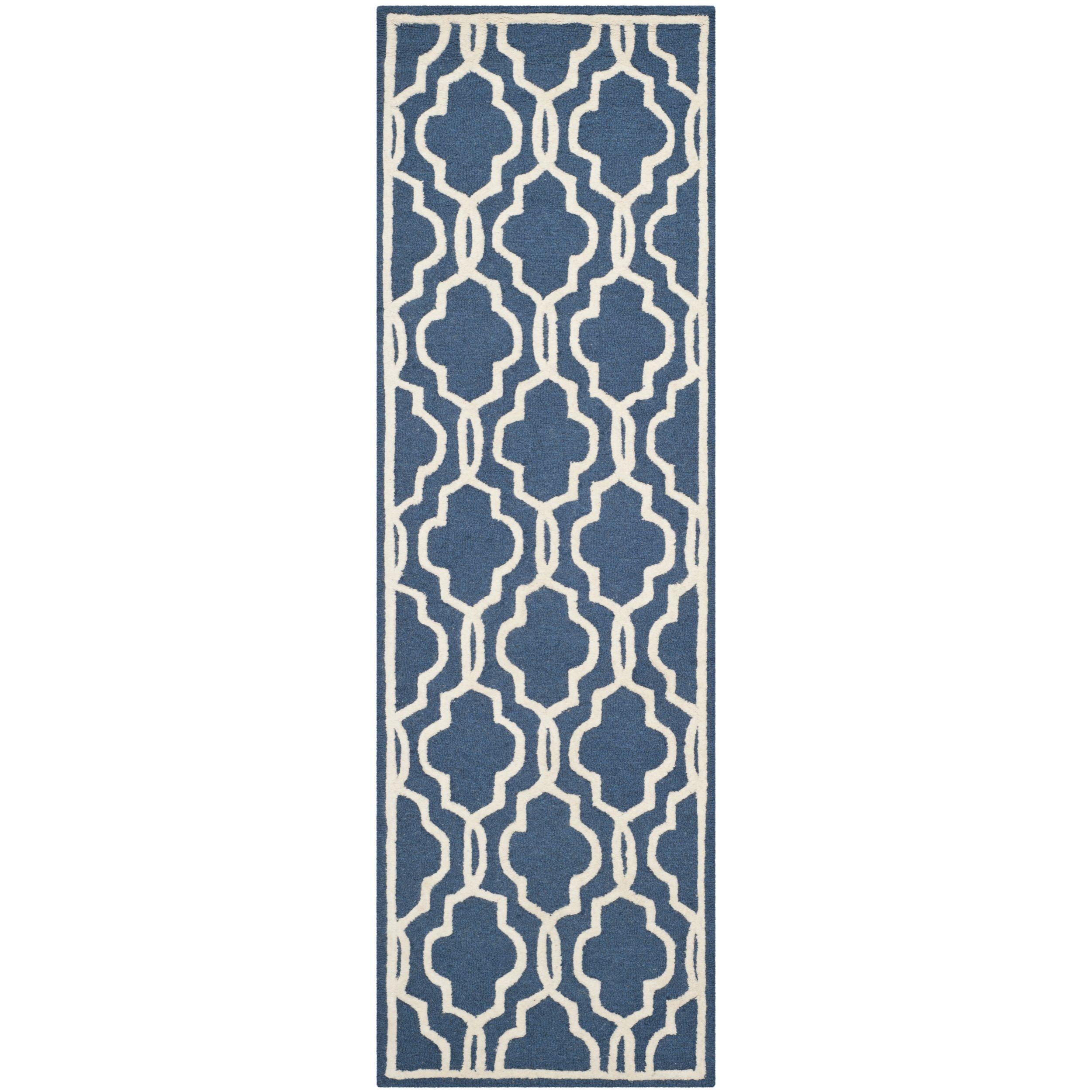 Navy hallway ideas  Safavieh Handmade Moroccan Cambridge Navy Ivory Wool Rug u x