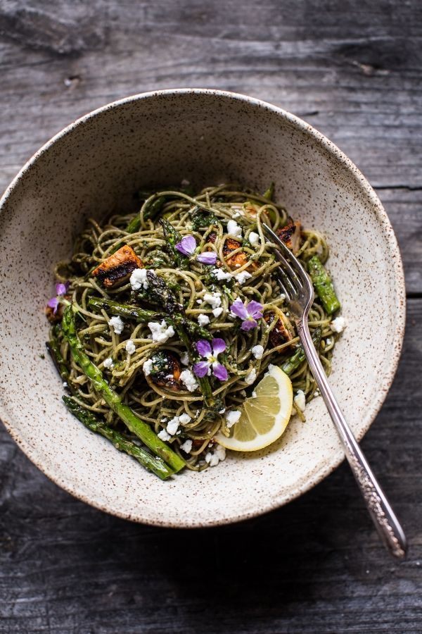 Charred Asparagus And Sunflower Seed Pesto Pasta With Blackened Lemon Chicken…