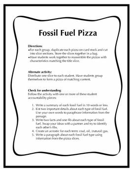 Fossil Fuel Activity Pack For Grade 5 Fossil Fuels 5th Grade