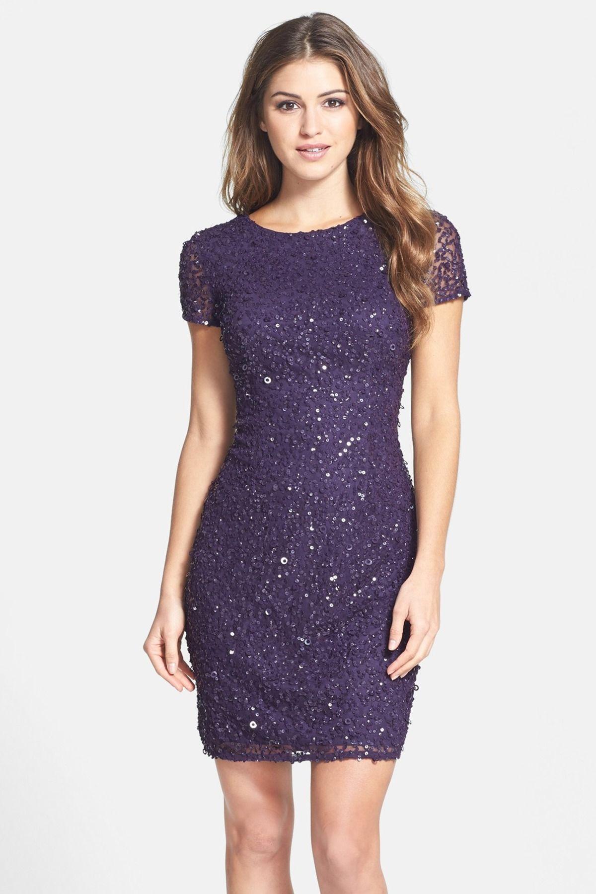 Adrianna Papell | Sequin Mesh Sheath Dress | Ropa linda, Púrpura y ...