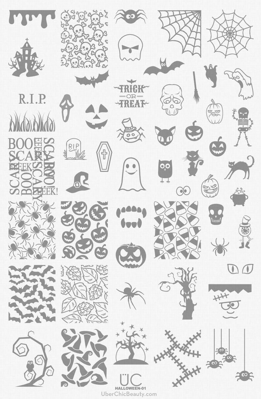 Halloween-01 - UberChic Nail Stamping Plate | Nail stamping ...