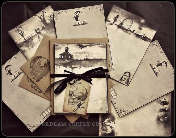 Scary Stories & Edward Gorey   Sampler Note Card by BedlamSupplyCo