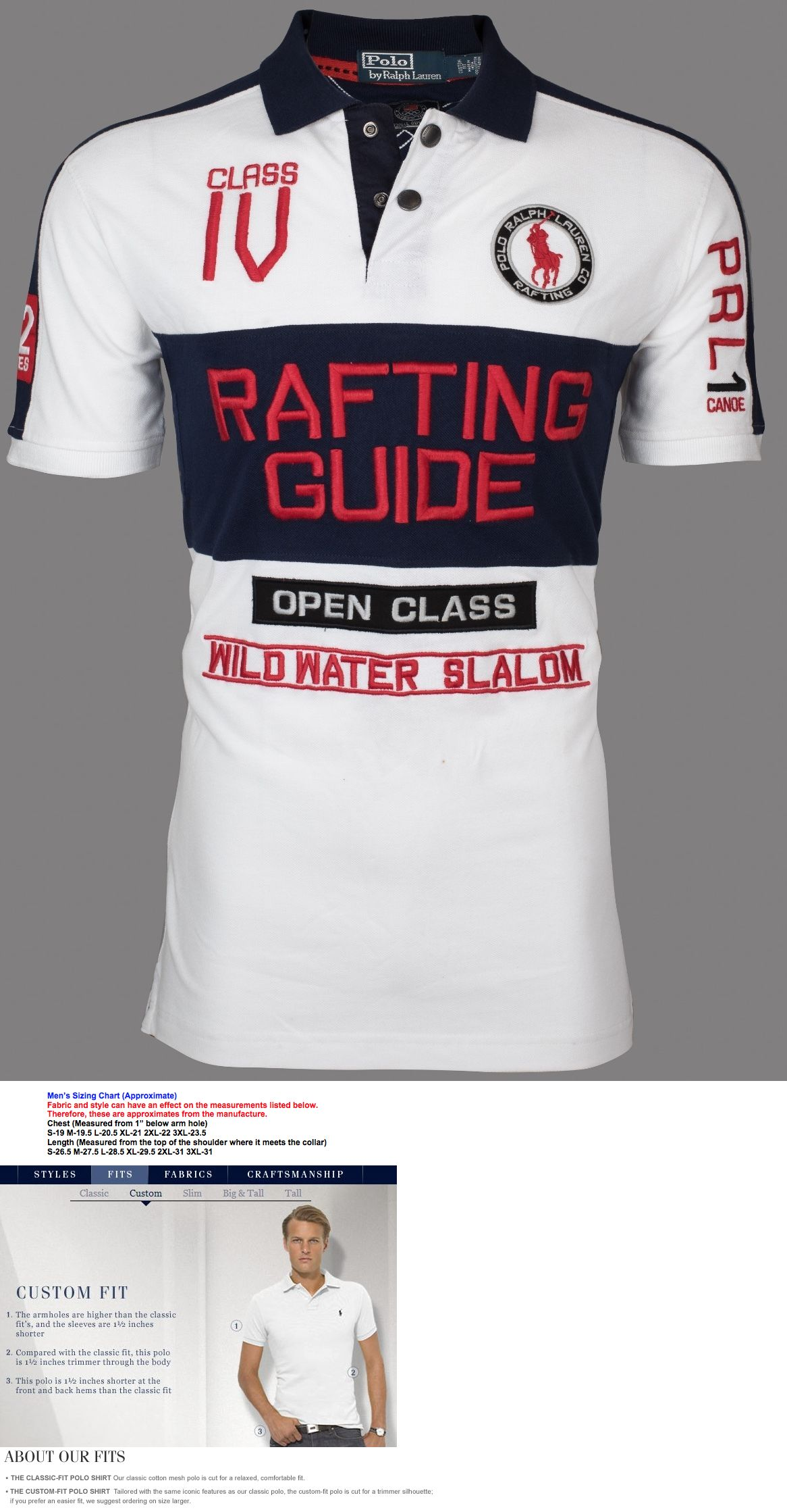 36d983ef0 Polos 185101  Polo Ralph Lauren Men Custom Fit Embroidered White Polo Shirt  Rafting Guide  145 -  BUY IT NOW ONLY   39.99 on eBay!