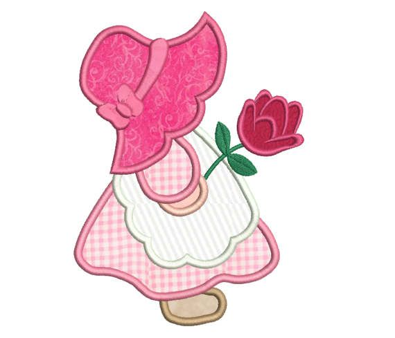 Sun Bonnet Sue Applique Embroidery Design, SunBonnet Sue Machine Embroidery, 4x4, 5x7, 6x10, Girl's Embroidery, Instant Download No: FA539-8 #sunbonnetsue