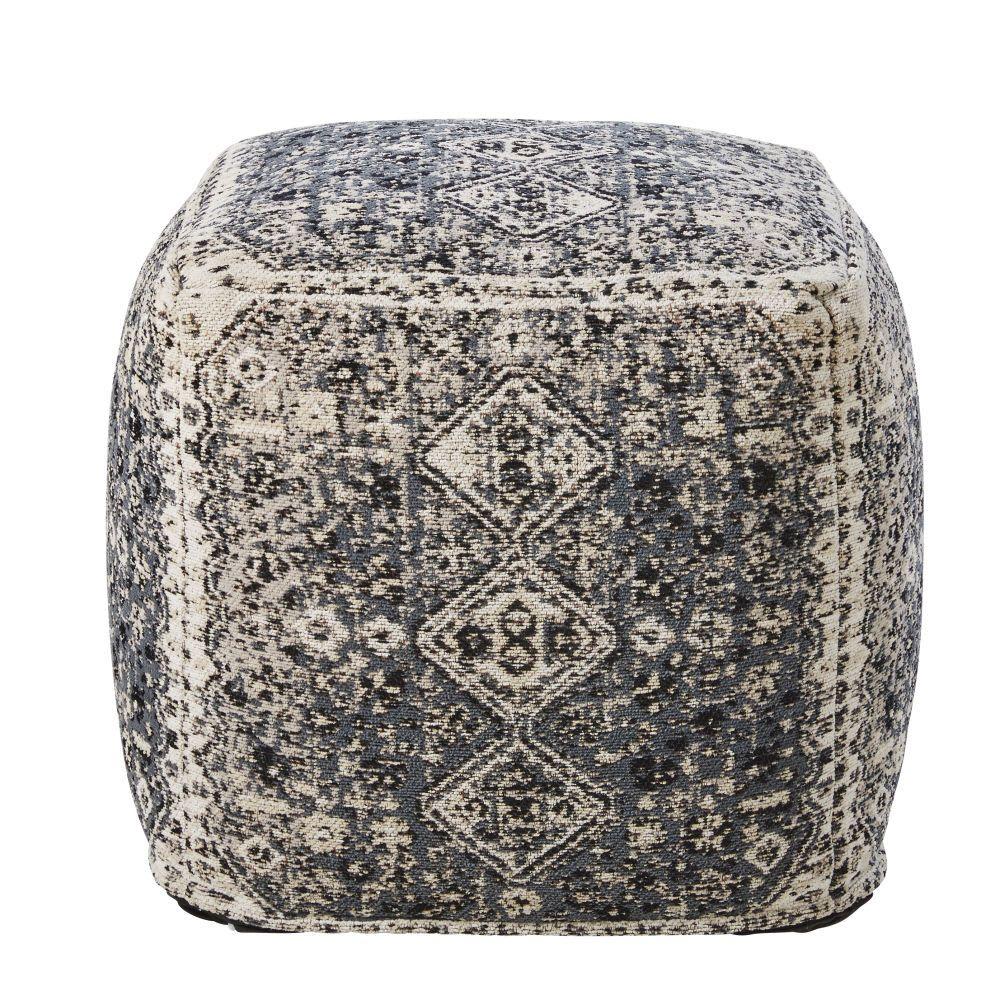 Puf De Algodon Marron Con Estampado Trending Decor Dining Room Bench Seating Sun Lounger Cushions